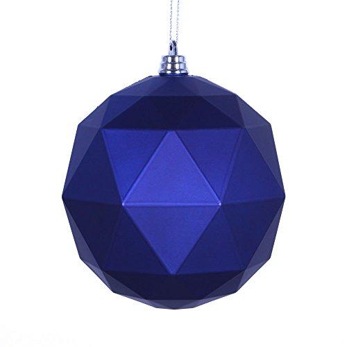 Vickerman M177422DM 6 in. Cobalt Blue Matte Geometric Christmas Ornament Ball - 4 per Bag