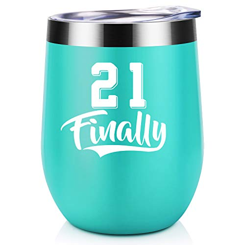 21 Finally | 21st Birthday Gifts for Her | Coolife 12 oz Stainless Steel Novelty Wine Tumbler Insulated Stemless Funny Sippy Cup with Lid and Straw | Turning 21 Year Old Birthday Gift