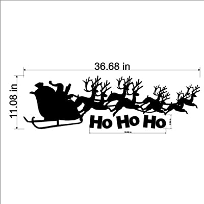 """Santa Claus And Reindeer Christmas Wall Decal Removable Holiday Wall Sticker 11"""" x 36"""", Black"""