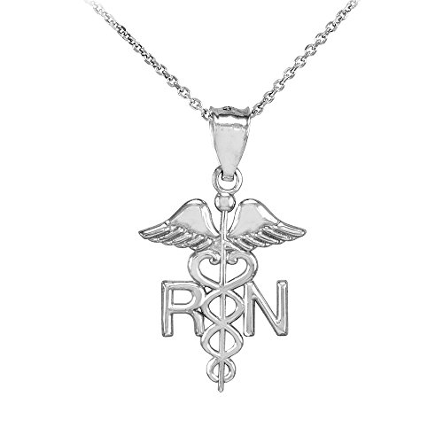American Heroes Polished 10k White Gold Caduceus RN Charm Registered Nurse Pendant Necklace, 18
