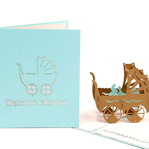 HUNGER Handmade 3D Pop Up Congrats Greeting Cards for Newborn Babies Boy Gifts New Parents (for baby boy)