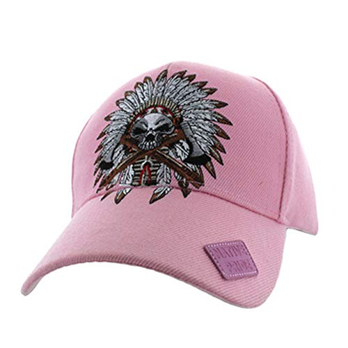 Native American Pride Chieftain Skull Feather Baseball Adjustable Hat Cap Light Pink