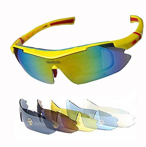 スポーツサングラス 交換レンズ5枚付き 偏光ガラス1枚 着脱可能インナーフレーム付属、度付きレンズ装着できる 风を防ぐ (イエロー+レッド)の商品画像