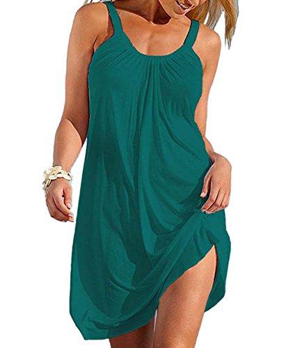Women's Summer Milk Fiber Strap Sundress Sleeveless Fashion Beach Dress Small Deep Green