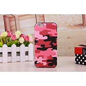 QJM Hot Pink Camouflage Leather Coated TPU Case Cover For iPhone 6 , Brown