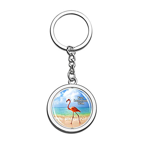 USA United States Keychain Flamingo Fort Lauderdale Key Chain 3D Crystal Spinning Round Stainless Steel Keychains Travel City Souvenirs Key Chain Ring]()