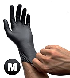 Black Latex Powder Free Disposable Medical Exam Tattoos Piercing Gloves - Size Medium - 100 gloves/Box