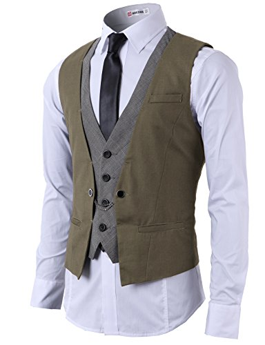 H2H Mens Fashion Business Suit Layered Vest With Chain Rings BROWN US 2XL/Asia 3XL (CMOV01)