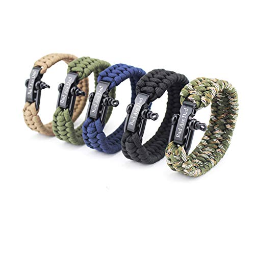 NJ Father Gifts - Stainless Steel Outdoor Rope Paracord Survival Bracelet Dad Bracelets Jewelry for Men for Daddy,Step-Father,Father in Law for Fathers Day,Birthday - Tent Engraved Green