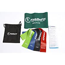 Resistance Band for Exercise and Fitness - Set of 4 Premium (Medium to Triple Extra Heavy) Resistance Exercise and Fitness Loop Bands + 1 Bonus Long Flat Stretch Band for Yoga, Pilates, Dance, Strength Building and Conditioning, Rehabilitative and Therapy Workout – Quick Start Exercise Booklet and Carry Bag Included - Workout Easily Anywhere Anytime