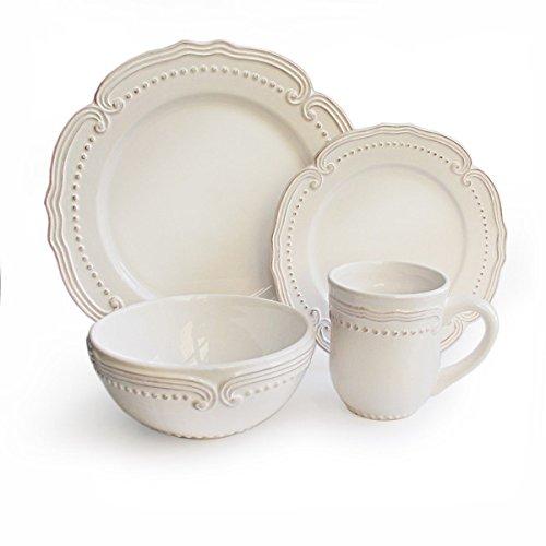 American Atelier Victoria White Dotted 16-piece Stoneware Di