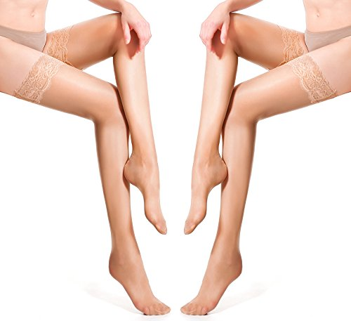 HONENNA Thigh-High Stocking with Silicone Lace Top 2 Pair Classical Sheer Silky Tights (Small, 2 Pair, Nude) (Highs Silk Thigh Sheer)