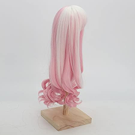 1//6 BJD Doll Wig High Temperature Synthetic Fiber Long Loose Wavy Pink to White Hair Wig for 1//3 1//4 1//6 1//8 BJD SD Doll