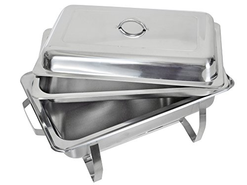 TMS Set of (2) 8 Quart Stainless Steel Rectangular Chafing Dish Full Size Buffet Catering by TMS (Image #2)