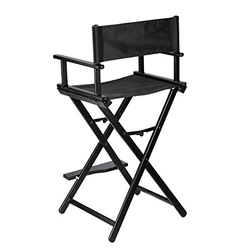 Makeup Artist Foldable Director Chair Aluminum Frame Light Weight Black by Anself