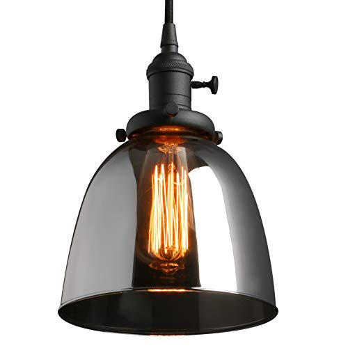 Phansthy Glass Industrial Pendant Light 1-Light Vintage Edison Hanging Light Fixture (Pendant Light Glass Rose)