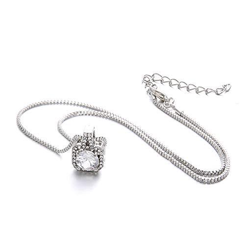 Sinfu Necklace,Square Small Alarm Clock Glass Diamonds Alloy Necklace Crystal Drill Pendant Necklace Valentine's - Clock 14k