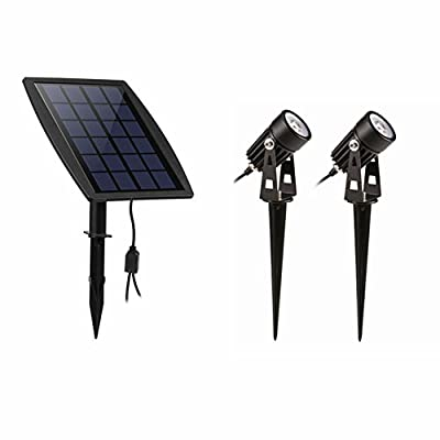 Hansuo Solar Spotlight, Dual Head Solar Wall/In-ground 2-in-1 Outdoor Lights, Waterproof Landscape Lighting for Pathway Driveway Deck Lawn