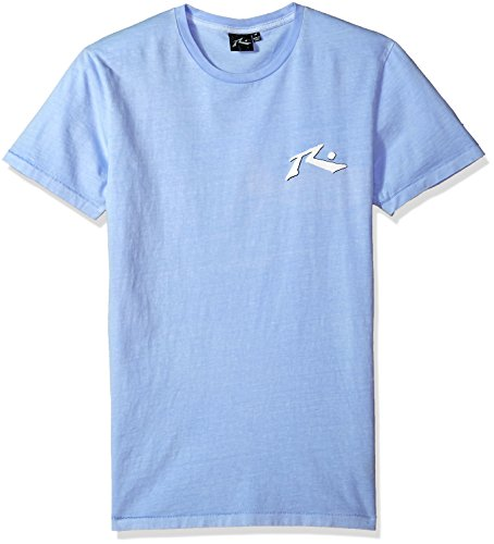 Rusty Men's Original Logo Traditional Fit Short Sleeve T Shirt, TV Pale Slate, Small (T-shirt Short Sleeve Rusty)