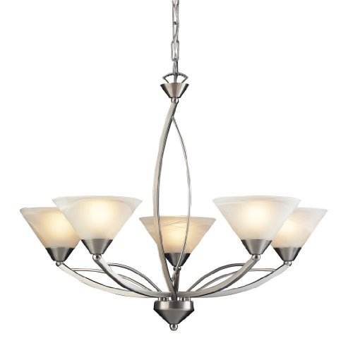 Elk 7637/5 5-Light Chandelier In Satin Nickel and Marbleized White Glass by Elk