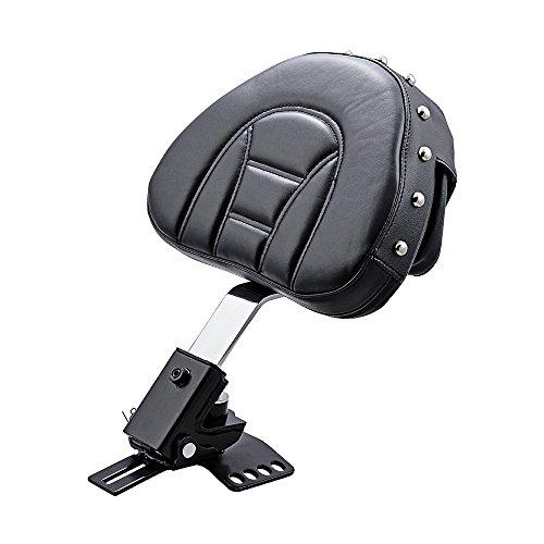 (Anzio Black Adjustable Rivet Rider Backrest w/Pocket for 1997-2017 Harley Road King Street Road Electra Glide)