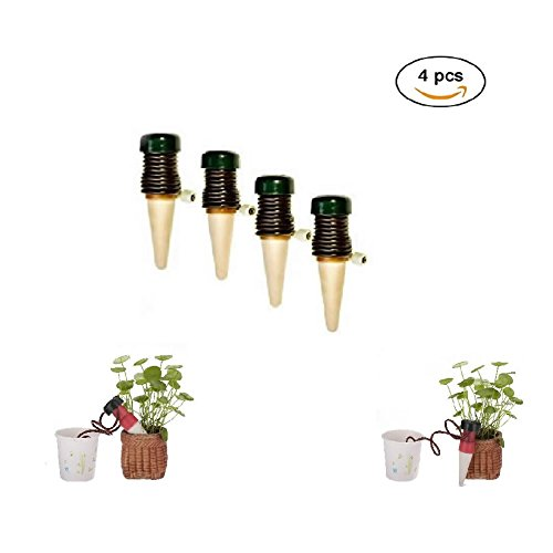 Watering Stakes - 4 Plant Self Watering System - Automatic Slow Release Vacation Plant Waterer Slow Release for Outdoor & Indoor Use by AiMiiNiii