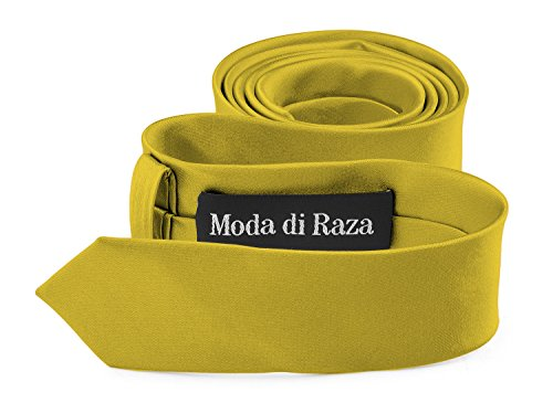 Moda Di Raza- Mens Slim Ties Skinny Necktie 2 inch Satin Finish Polyester Ties - Gold (Gold Satin Polyester Necktie)