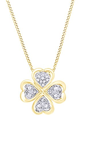 - AFFY White Natural Diamond Clover Pendant Necklace in 14k Yellow Gold Over Sterling Silver (0.1 Ct)