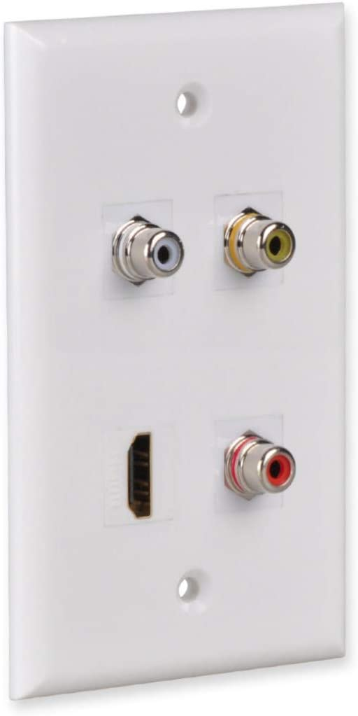 FolioGadgets 1-Port RCA Wall Plate with RCA Keystone Insert Jack for Subwoofer
