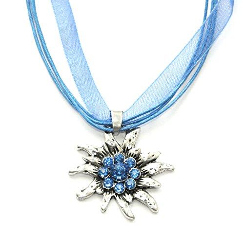 Trachtenkette mit großem Blau Edelweiß Anhänger - klassischer Damen Trachtenschmuck, Kropfkette, Dirndl-Kette, Trachtenkette und Trachtenhalskette fürs Dirndl zur Wiesn und Oktoberfest