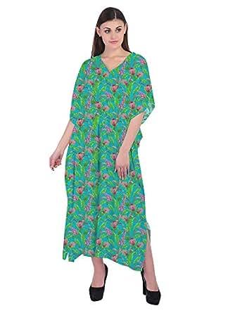 RADANYA Floral Women's Swimwear Kaftans Swimsuit Cover Up Caftan Beach Long Dress Blue