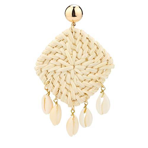 -  Fashions Earrings Clearance , Weaving Straw Square Earrings Bohemian Rattan Shell Pendant Declaration Earrings by Little Story (White)