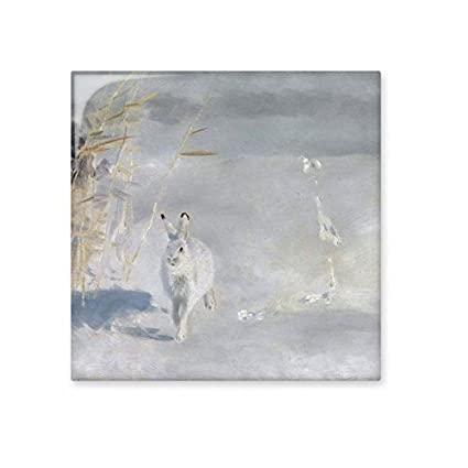 white little rabbit run in winter oil painting ceramic bisque tiles