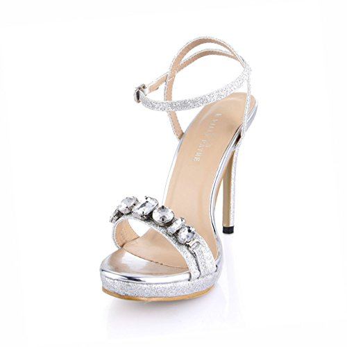 Sandali Con Tacco Alto Con Punta Aperta E Cinturino Alla Caviglia