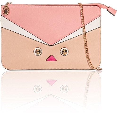 Xardi zip Up ecopelle croce corpo borse ragazza da donna sera Prom designer frizione Nude/Pink