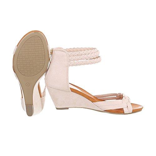 Ital-Design Zapatos Para Mujer Sandalias de Vestir Plataforma Sandalias de Cuña Beige