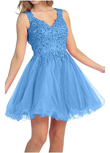 Perlen Blau Tanzenkleider Pailletten Mini Spitze Damen mit Cocktailkleider Kurzes Charmant Heimkehr Rot qHYPvwz