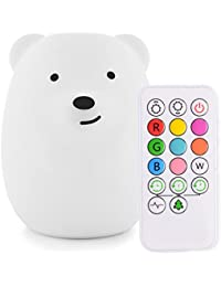 Cute Animal Silicone Baby Night Light with Touch Sensor...