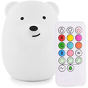 Glolux Portable Silicone LED Cartoon Night Light for Kids USB Rechargeable 7-Color Changeable Light Bedroom and Nursery Cute Children Night Lamp for Baby Warm//White Light Devil