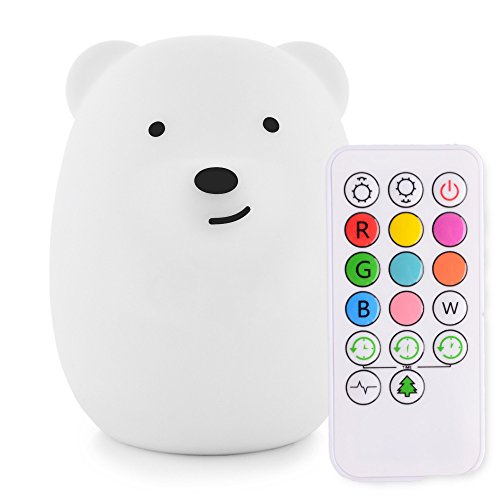 LumiPets Cute Animal Silicone Baby Night Light with Touch Sensor and Remote - Portable and Rechargeable Infant or Toddler Cool Color Changing Bright Nightlight Lamp ()