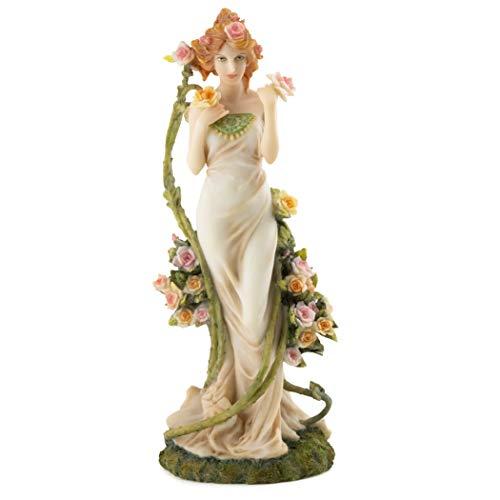 Alphonse Mucha Flowers - Top Collection Alphonse Mucha Statue Collection - Hand Painted Art Nouveau Rose Women Decorative Sculpture -10.5-Inch Collectible Figurine