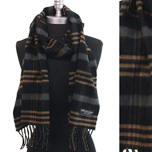 100% Cashmere Scarf Made In Scotland Plaid Check Soft Shawl Black - Camel - Gray