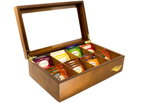 The Bamboo Leaf Wooden Tea Storage Chest Box with 8 Compartments and Glass Window (Walnut) ()