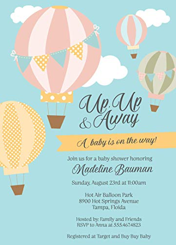 (Up Up and Away, Baby Shower, Hot Air Balloon, Invitations, Blue, Sky Blue, Yellow, Grey, Gray, Pink, Green, Clouds, Polka Dots, Stripes, Gender Neutral, Unisex, 10 Pack Invites with White Envelopes)