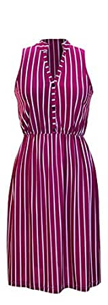 Peach Couture Vintage Colorful Confidence Picnic Party Striped Dress (Small, Magenta)