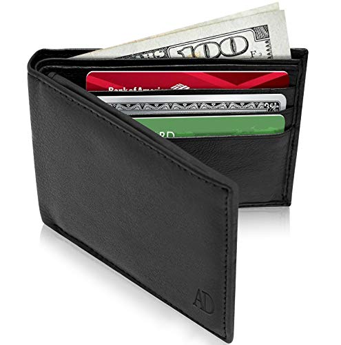 Slim Leather Bifold Wallets For Men - Minimalist Mens Wallet RFID Blocking Card ID Window Box Fathers Day Gifts For Men ()