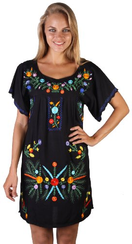 Mexico Embroidered Short Dress Black S/M (Sexy Mexican Woman)