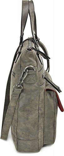 MIYA BLOOM, Damen Handtaschen, Shopper, Henkeltaschen, Tote-Bags, Umhängetaschen, 33 x 36 x 10 cm (B x H x T), Farbe:Grau Anthrazit