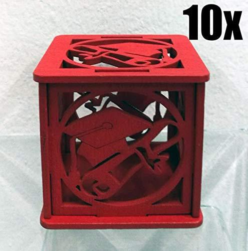 10 PZ Scatola portaconfetti legno rosso TOCCO LAUREA bomboniera Oggettistica per bomboniere