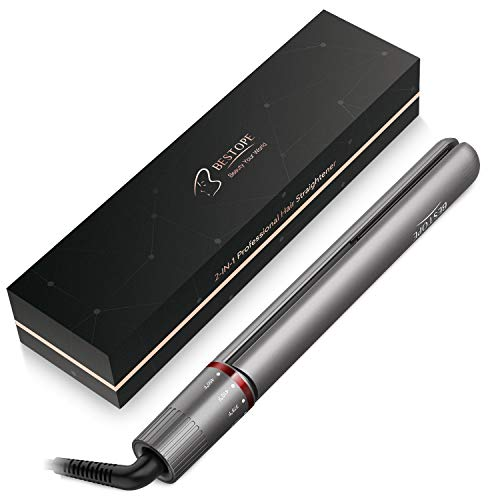 (BESTOPE Upgraded Hair Straightener and Curler, 2 In 1 Ceramic Flat Iron for Hair with 15s Heating, 1 Inch Curling Iron Wand Set with Clips and Gloves)
